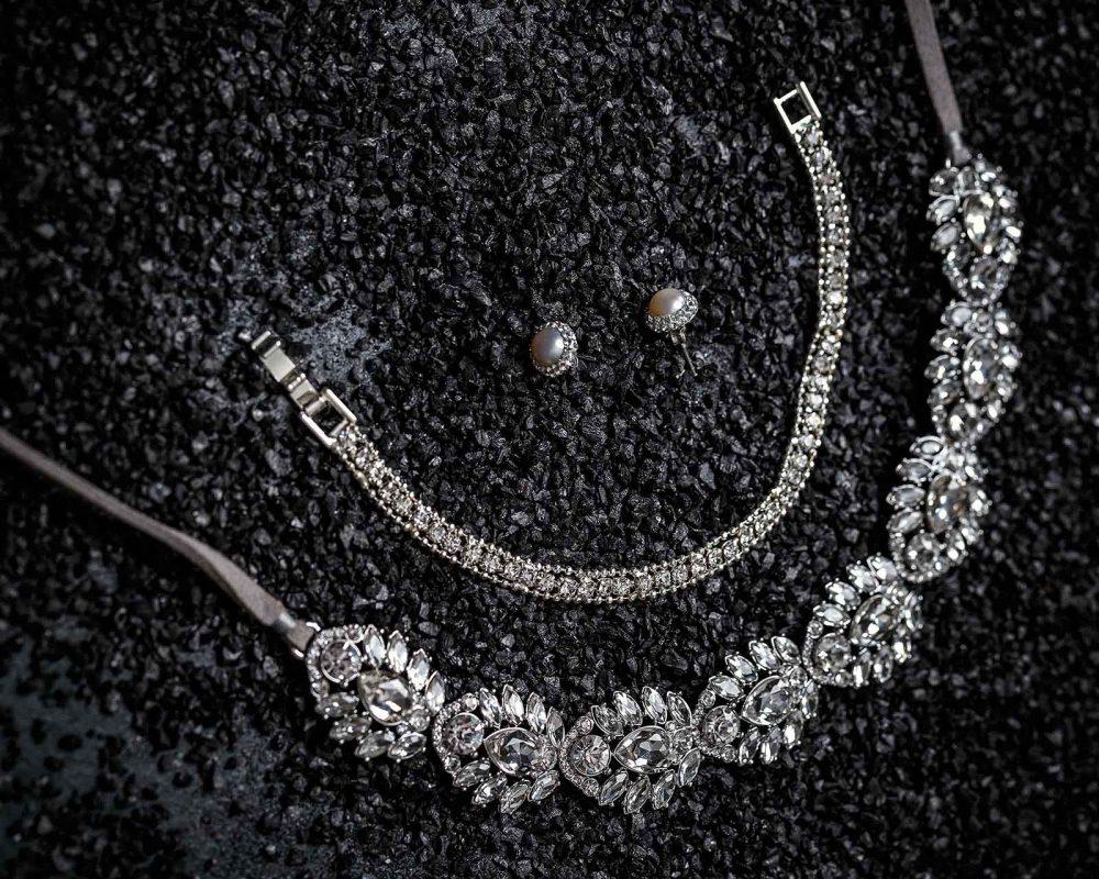 Female jewelry on a black background